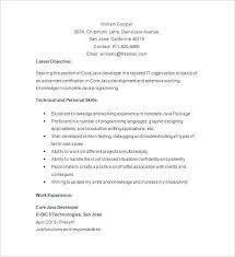 Java Programmer Resume Sample Developer Entry Level Core