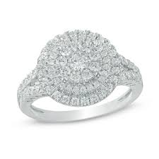 1 Ct T W Composite Diamond Double Frame Engagement Ring In 10k White Gold