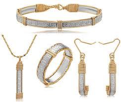 greek key bracelet pendant earrings ring set