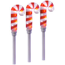 Green Candy Cane Pathway Lights 21 26 In Sparkle Candy Cane Pathway Stakes Set Of 3