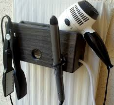 endearing gray white wall and wooden holder hair dryer caddy