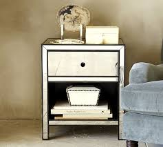 Three Drawer Mirrored Bedside Table