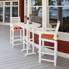 image of white bar height outdoor table