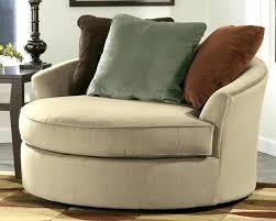 oversized microfiber swivel chair round brown