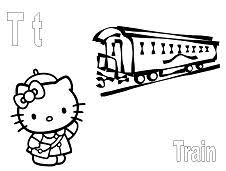 Hello kitty chef pie eggs easter. Hello Kitty With Letter T Is For Train Coloring Page Free Coloring Pages Online
