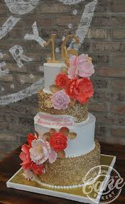 Sweet 16 Cake White And Gold With Red And Pink Flowers
