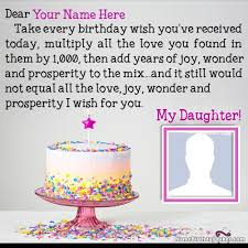 birthday wishes for daughter with name