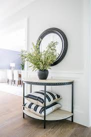 half moon gray wash wood and iron console table