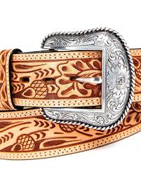 hand tooled leather roper natural acorn belt hi res checkbook covers