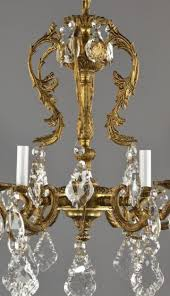 spanish brass crystal chandelier c1950 vintage antique french style ornate photo