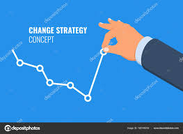 Push Stock Chart Change Strategy Time Change Concept Falling Graph Rises Hand