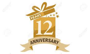 Anniversary Ribbon 12 Years Gift Box Ribbon Anniversary Royalty Free Cliparts Vectors