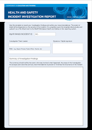 Hse Health Safety Incident Investigation Report Templates At