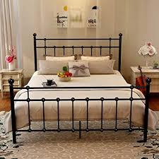 Amazon.com: Metal Bed Frame Platform with Steel Headboard and ...