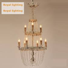 rustic iron chandeliers crystal light extra long vintage lamp lampadario gray retro antique iron pendant light hall stair light tall lamp res de cristal