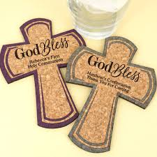 Custom cork coasters Favors Housewarming 4allpromos Cross Cork Coaster Religious Favors God Bless Design