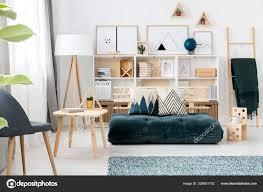 Futon Interior Design Dark Green Futon Couch Decorative Pillows Standing Scandi