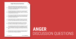 anger discussion questions worksheet therapist aid