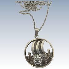 early david andersen 925 sterling silver viking ship pendant norway