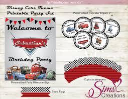 Disney Cars Birthday Decoration Kit Party Printables Sims Luv