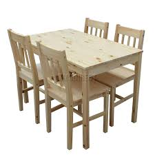 Sentinel FoxHunter Quality Solid Wooden Dining Table and 4 Chairs Set  Kitchen DS02 Pine