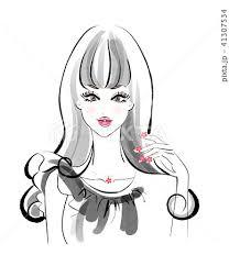 女性 オシャレ きれい ロングヘアのイラスト素材 Pixta