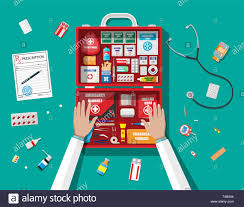 What Is Workflow Design In Healthcare Workflow Of Physicians First Aid Kit With Medical Equipment
