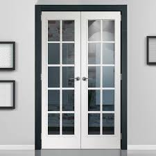 arresting glass french door interior portobello white door pair with clear safety glass prefinished