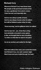 richard cory poem by edwin arlington robinson poem hunter  richard cory poem by edwin arlington robinson poem hunter comments page 2