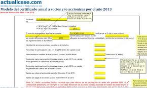 Certificado Modelo Del Certificado Anual A Socios Y O Accionistas