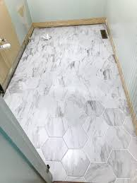 The Best Faux Marble Tile  Blesserhousecom  A Dated Powder Room Floor Gets