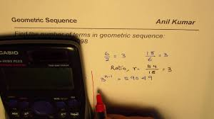 how to use logarithms to calculate the number of terms in geometric sequence