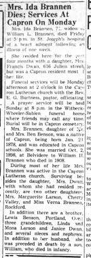 16 Jul 1949 - Obituary for Ida Benson Brannen. - Newspapers.com