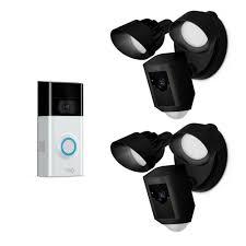 Ring Flood Light Home Depot Ring Wireless Video Doorbell 2 With Floodlight Cam Black 2 Pack