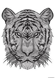 Coloriage Adulte Animal Tigre Difficile Antistress Dessin