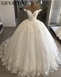 Wedding Dress Plus Size Chart Us 179 2 20 Off 2019 Bling Tulle Ball Gown Wedding Dress Plus Size Lace Appliques Dubai Elegant Off The Shoulder Princess Bridal Gowns Lace Up In