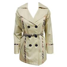 nwt burberry tan short trench coat w signature check trim and braided belt for