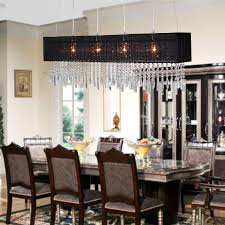 design trend with dining room with crystal chandelier combine rectangular black shade plus glass top dining