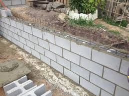 concrete block retaining wall design artnak for attractive cinder block retaining wall for your house