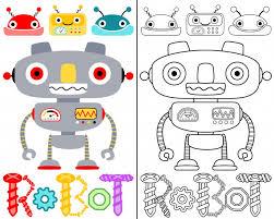 coloring book vector with robots cartoon premium vector
