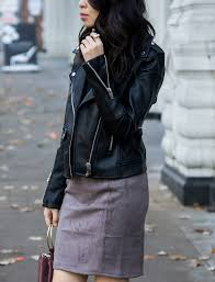 suede skirt faux leather moto jacket fall outfit petite fashion blog