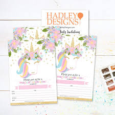 Hadley Designs Hadley Designs 25 Pastel Unicorn Kid Party Invitation Birthday Royal Princess Queen Crown Girl Bday Invite Magical Rose Pink Gold Floral Glitter