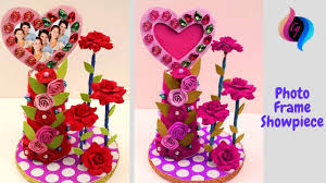 how to make heart shaped photo frame and showpieces best out of waste showpiece handmade craft