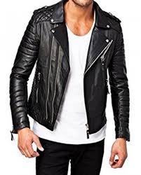 men moto style quilted biker jacket