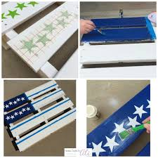 painting american flag wood pallet with stars
