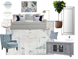 bright airy living room design board blue and white living room louella reese life
