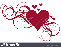 abstract forms heart with ornamental swirls vector