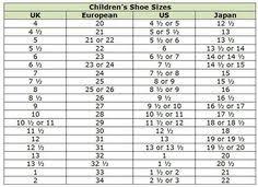 Adidas Shoes Size Chart Japan 16 Best Shoe Size Chart Images Crochet Shoes Crochet