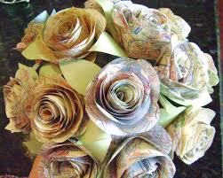 Recycled Flower Paper The Stephanie Vintage Map Spiral Rose Paper Flowers Bridal