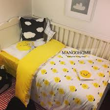 baby crib bedding set 100 cotton baby bedding set yellow smiley and feather design including duvet cover